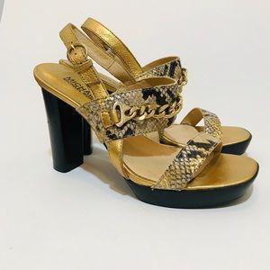 Michael Kors Gold Chain Snake Print Chunky Heels